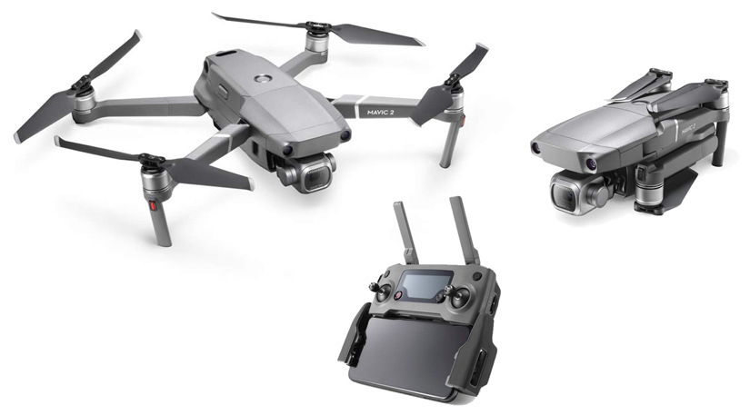 DJI Mavic 2 Pro Drone showing folding and controller