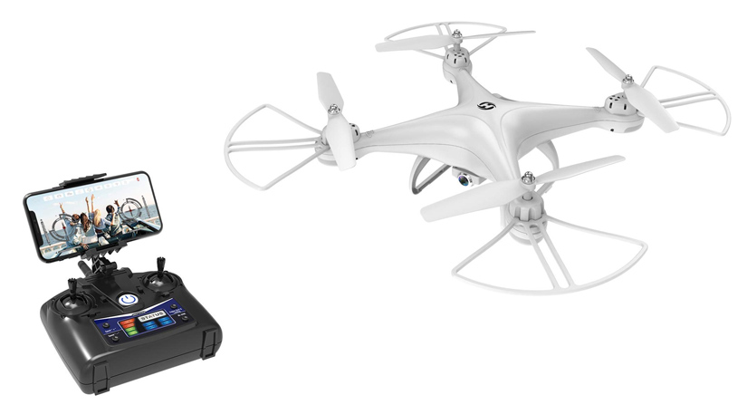 A Holy Stone HS110D drone with controller
