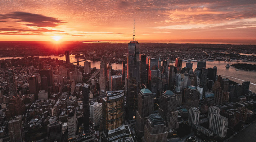 An aerial shot of New York taken on a drone