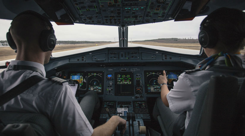 Two pilots in a cockpit